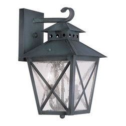 "Livex Lighting - Livex Lighting 2671 Montgomery Large Outdoor Wall Sconce - Livex Lighting 2671 Montgomery Two Light Outdoor Wall SconceFeaturing a prominent workman style design, the Montgomery two light top mount outdoor wall sconce features a simple rustic kerosene lamp design with a perforated chimney, four sided roof, and clear seedy glass with ""x"" shaped guards. This arts and crafts style light will enhance the look of any outdoor decor.Livex Lighting 2671 Features:"