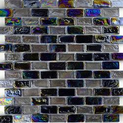 "Glass Tile Oasis - Pewter Smoke Blend Uniform Brick Black Bricks Glossy and Iridescent Glass - Sheet size: 11 7/8"" x 11 7/8"""
