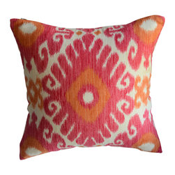 KH Window Fashions, Inc. - Pink and Orange Ikat Decorative Pillow - Pink and orange.....Love the color combination!  Toss this pillow on your bed or sofa and add punch of color to your room.