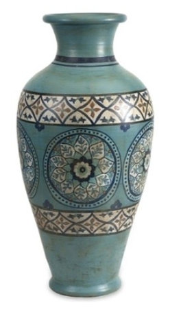Kibar Turquoise Hand Painted Oversized Vase - *This Moroccan inspired oversized Kibar vase features a terracotta bodice and hand painted medallions in shades of blue.
