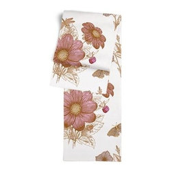 Pink Sketched Floral Print Custom Table Runner - Get ready to dine in style with your new Simple Table Runner. With clean rolled edges and hundreds of fabrics to choose from, it's the perfect centerpiece to the well set table. We love it in this pink and brown feminine floral that evokes traditional hand sketched botanical drawings.