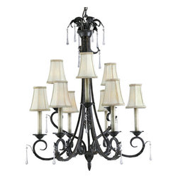 Progress Lighting - Progress Lighting P4155-84 Veranda Nine-Light Two-Tier Candelabra Chandelier - In the Veranda collection, a rich Espresso finish highlights graceful curves, acanthus leaves and faux rock crystal drops for refined fixtures that make a grand statement. When lit, the subtle colors of Venetian marble glass cast a romantic glow, and the delicate detailing of the glass.Features: