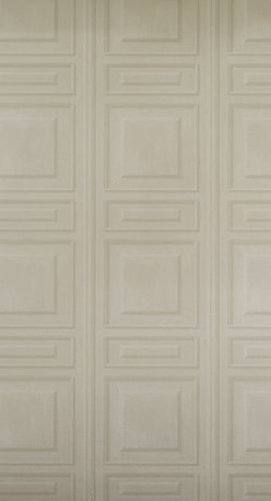 Kathy Kuo Home - French Classic Wood Moulding Panel Wallpaper - Taupe - A clean and classic French panel effect wallpaper with clean lines and a touch more moulding effect. Comes in five subtle colours and great with clean freshly painted woodwork.