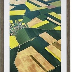 Approaching Paris Print - From the bird's eye view of an approaching aircraft, Colby Chester photographed the patchwork of verdant fields found outside of Paris, reinterpreting the panorama in a richly colored watercolor painting that plays both abstract and representational. To preserve the beautiful color of our gicl�e reproduction, each print is UV-protected with a special coating and glass. Parana pine frame is finished in distressed grey.