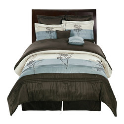 Bed Linens - Portland Aqua Blue 12-Piece Bed in A Bag King Size - The colors of this set are combination Aqua blue metallic and Coffee Brown with White sheet set.