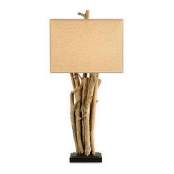 Currey & Co - Currey & Co 6344 Driftwood Natural Wood Table Lamp - 1 Bulb, Bulb Type: 150 Watt Edison; Weight: 9lbs