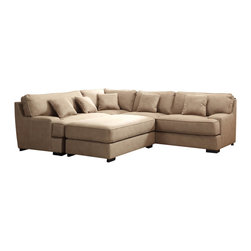 Homelegance - Homelegance Minnis 2 Piece Living Room Set in Beige Faux Leather - Taking a turn at classic modern aesthetic is the Minnis Collection. Low profile track arms and knife edge toss pillows set the line of this uniquely upholstered sectional seating group. The beige heavy duty faux leather that covers this collection has the hand and feel of nubuck with the breathability of fabric. The coordinating ottoman provides extra seating and room to stretch out. Also available in brown or chocolate wide wale fabric.