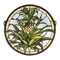 "Meyda - 16""W X 16""H Welcome Pineapple Medallion Stained Glass Window - The pineapple, a traditional sign of welcome, isdepicted in this meyda tiffany original window of honeygold fruit with tropical green foliage on a clear seedybackground. Handcrafted utilizing the copperfoilconstruction process and more than 210 pieces ofstained art glass encased in a solid brass frame.mounting bracket and jack chain included."