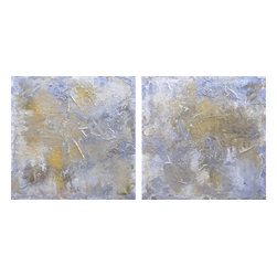 """Beauty {Diptych}, Original, Painting - 72"""" x 36"""" {horizontal or vertical} eco-friendly textured oil, metallic silvers and gold with crushed metal, and mixed-media paintings. beauty {diptych - two 36"""" x 36""""} by michele morata is a one-of-a-kind contemporary textured metallic huge xxl artwork using only organic art mediums healthy for our homes, offices, and earth.  series poetic statement: silver light beauty - treasures in the heavens.  eco-friendly crushed stone from italy with international recyclable mediums are layered under the oil and metallic pigments of silver, platinum, bright gold, antique gold. heat is applied before glazing. painting sides are 1.5"""" canvas with lightly textured silver edges; requiring no frame. eco-friendly archival matte pearlescent glaze invented by michele morata completes this unique one-of-a-kind extra-large original artwork. michele's original paintings are featured in fine art galleries, private and corporate art collections, as well as movie sets, tv shows/commercials, and book covers. colors: neutrals of light yellow, white, cream, silver, platinum, gold, beige  * note: if a large versus extra-large statement piece is needed - beauty #1 & beauty #2 {each 36"""" x 36"""" contemporary square} are currently available to be sold separately."""