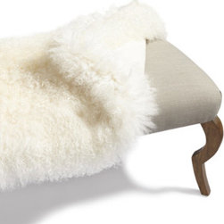 Grandin Road - Fur Cover for Harry Bench - Long bench with smooth, linen-covered upholstered seat. Curved wooden legs have the shape of antelope limbs. Optional Mongolian Sheep Fur Cover is 100% genuine lambs wool. Imported. A versatile and timeless piece, David Bromstad's Harry Bench is an elegant linen-upholstered bench, in light gray, with wooden legs shaped like those of graceful antelope. For a shaggy twist, slip on the genuine Mongolian Sheep Fur Cover (sold separately), made expressly to fit the bench. Fur cover is also a handsome throw for a sofa or chair. But we think they look best together at the foot of a bed, in an entry hall, or alongside a dining table for a decadent meal.  .  .  . . A Grandin Road exclusive.