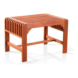 Vifah - Vifah Backless Single Wood Outdoor Bench - This wood outdoor bench is not only great for sitting on, but it can also double as a footrest. The slatted seat gives it a look that's perfect for a modern patio or garden, and because it's weather-resistant, you can leave it outside without worrying.
