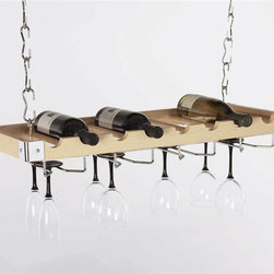 Concept Housewares - 2-in-1 8-Bottle Hanging Wine Rack (Charcoal Gray) - Finish: Charcoal Gray. Includes four ceiling hooks, thirty two hanging links, two wall supports, four chrome wire glass holder, all mounting hardware and hanging instructions. Holds eight bottles and twelve wine glasses. Can be used as wall mounted rack. Combination of wood and chrome to create modern look. 30 in. L x 3 in. W x 12 in. H (10 lbs.)Concept Housewares offers our popular sturdy metal wine racks that mount on the wall or sit on the floor. Concept products are constantly being recognized for quality, style and innovative designs created with a variety of materials that accessorize the kitchen at an exceptional value for the money. For over ten years Concept Housewares has been a leader in Kitchen Storage and Asian Cookware. Our products are designed with the consumer in mind and made with the best quality materials and craftsmanship available.