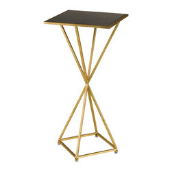 Currey and Company - Larkin Drinks Table - This Contemporary Gold Leaf finished accent table's symmetrical pyramid design and black penshell table top provides lavish decorum to accompany any drinking man or woman's cocktail.