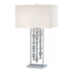 Minka George Kovacs - Minka George Kovacs Decorative Portables 2-Light Chrome Table Lamp - This 2-Light Table Lamp has a Chrome Finish and a White Fabric Shade.