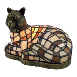 Zeckos - Brown and White Stained Glass Relaxing Cat Accent Lamp - This stained glass accent lamp is a wonderful addition to the home of any cat lover. It features a resin base and head and a beautiful shade made of hundreds of hand cut pieces of brown and white glass. The lamp measures 7 inches tall, 9 inches long, 5 1/2 inches wide and has a black 5 1/2 foot long power cord with a rocker on/off switch. It casts a lovely glow with a 15 watt (max) nightlight style bulb (included). This lamp is great to use as a night light and makes a great gift for family and friends.