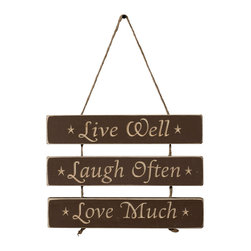 Live Well. Laugh Often. Love Much. - Amish Made Sign, Brown - This fantastic reminder is carved perfectly with a CNC, then sanded, distressed, and finished by skilled Amish hands... Comes Ready To Hang...