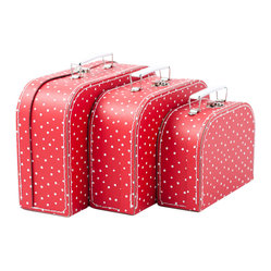 Red And Dots Suitcases Set