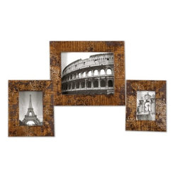 """Uttermost - Uttermost Hema Traditional Picture Frame X-55581 - Stamped mango wood with silver leaf and gold leaf finish. Holds photos 4"""" x 6"""", 5"""" x 7"""" and 8"""" x 10"""". Sizes: Small- 8""""x 10"""" x 1"""", Medium- 9"""" x 11"""" x 1"""", Large- 12"""" x 14"""" x 1""""."""