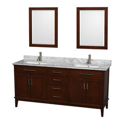 "Wyndham Collection - Hatton 72"" Dark Chestnut Double Vanity w/ White Carrera Marble Top & Square Sink - Bring a feeling of texture and depth to your bath with the gorgeous Hatton vanity series - hand finished in warm shades of Dark or Light Chestnut, with brushed chrome or optional antique bronze accents. A contemporary classic for the most discerning of customers. Available in multiple sizes and finishes."
