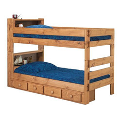 Chelsea Home - Twin Over Twin Bookcase Bunk Bed - NOTE: ivgStores DOES NOT offer assembly on loft beds or bunk beds.. Includes slat packs and storage drawers. Mattresses not included. Rustic style. Metal brackets are used to connect the rails to the headboard and footboard. Rails with 1.25 in. cleat which is glued and screwed to the rail for extra strength to support the mattress foundation. Drawer mounted on a rolling metal glide for easy opening and closing. Exceed all safety standards of the consumer product safety commission. Constructed for strength and durability. Can hold up to 400 lbs. of distributed weight. Warranty: One year. Made from solid pine wood. Ginger stain finish. Made in USA. Assembly required. Distance between top and bottom bunk: 25 in.. 85 in. L x 41 in. W x 61 in. H (265 lbs.). Bunk Bed Warning. Please read before purchase.Warning: Falling hazard, bunk beds should be used by children 6 years of age and older!