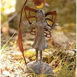 Evergreen Enterprises Inquisiti Fairy Solar Garden Statue - The pretty little Evergreen Enterprises Inquisiti Fairy Solar Garden Statue will light up your garden with joy. Made of weather-resistant polystone with delicate metal wings, this statue will keep your garden glowing with style. Perfect as a gift for someone, or just for yourself, this statue is as durable as it is unique.