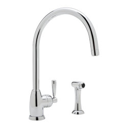"ROHL Perrin & Rowe Contemporary Mimas Kitchen Faucet - Product Number: U.4846LS-2. ROHL Perrin & Rowe Mimas Contemporary Single Hole Kitchen Faucet with ""C"" Spout and Sidespray shown in Polished Chrome."