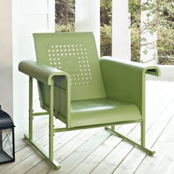 Crosley Veranda Single Glider Chair - Leave the rocking chairs at the Cracker Barrel and bring home the retro style of the Crosley Veranda Single Glider Chair - Oasis Green to your porch or patio. This classically inspired chair features smooth-moving pivots and hinges on a body of all-weather metal. The powder-coated finish helps resist weathering and allows for easy cleaning.