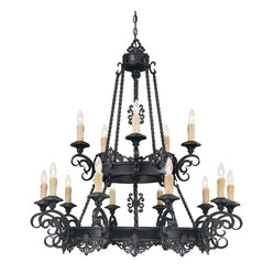 Savoy House - Barista 15 Light Chandelier - Drape this impressive chandelier in your dining room or great room for all to study. The fixtures look like dripping wax candles, with the bulbs shaped like their flames, creating one of many striking features.