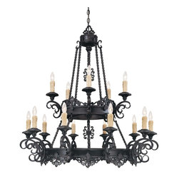 Savoy House - Barista 15-Light Chandelier - Drape this impressive chandelier in your dining room or great room for all to study. The fixtures look like dripping wax candles, with the bulbs shaped like their flames, creating one of many striking features.