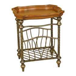 Passport - Malaga Magazine Table - Four metal feet for added stability. Oil rubbed bronze twisted metal. Side panels hold all paper securely. Walnut trayed top. Made from wood and metal. Oil rubbed bronze and walnut finish. Assembly required. 25 in. W x 15 in. D x 20 in. H (18 lbs.)Bottom hold magazines, papers, etc
