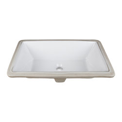 "Hardware Resources - H8910WH Undermount Porcelain Rectangle Sink - Undermount Porcelain Rectangle Sink Basin. 18-1/2"" x 11-3/8"". Each sink comes with a mounting kit."