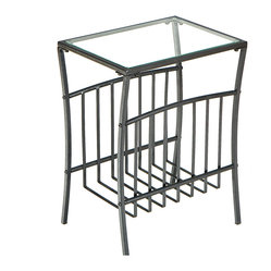 Metal Basket Magazine Table