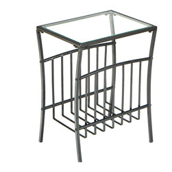 Holly & Martin - Shiloh Metal Magazine Table - The classic metal basket magazine rack is now twice as useful thanks to its second gig as space-saving end table extraordinaire! Keep photo albums at arm's reach or store extra throws and pillows — you'll never run out of ways to use this clever piece.