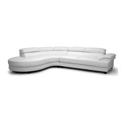 """Wholesale Interiors - Adelaide White Leather Modern Sectional Sofa with Left Facing Chaise - Large living space. Large family. The sizable Adelaide Contemporary Sofa offers seating aplenty with room to spare. A frame made of both hardwood and plywood is topped with medium-firm foam cushioning, defining the modern couch's gorgeous, sleek modern lines. White bonded leather upholsters the 2-piece sofa and chaise set. Adjustable headrests and black wood legs with non-marking feet complete this Malaysian-made designer sectional sofa. Please note: the sofa and chaise are freestanding, they do not connect to one another. To clean your modern sectional sofa, wipe with a damp cloth and dry immediately. The Adelaide Sectional, which requires minor assembly, is offered with a right facing or left facing chaise configuration in both brown or white leather (each sold separately). Product dimension: 130""""W x 99""""D x 27.5""""-36""""H."""