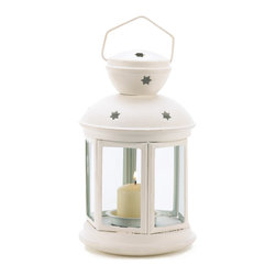 Anzy - White Colonial Candle Lamp - A traditional candle lantern gets a fresh contemporary look with matte white finish and charming star cutouts! A simple yet elegant complement sheds festive light on any setting.