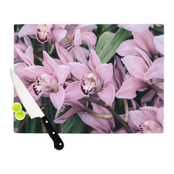 """Kess InHouse - Nastasia Cook """"Lots of Orcids"""" Pink Green Cutting Board (11.5"""" x 15.75"""") - These sturdy tempered glass cutting boards will make everything you chop look like a Dutch painting. Perfect the art of cooking with your KESS InHouse unique art cutting board. Go for patterns or painted, either way this non-skid, dishwasher safe cutting board is perfect for preparing any artistic dinner or serving. Cut, chop, serve or frame, all of these unique cutting boards are gorgeous."""