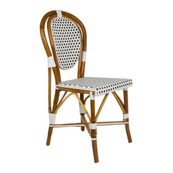 White & Black Mediterranean Bistro Chair - Our most popular chair! These armless rattan-framed dining chairs are part of the iconic French bistros of Le Midi, or the south of France. Hand-woven and artisan crafted, these French style bistro chairs in bright synthetic material, will add a pop of color to your outdoor or indoor space.