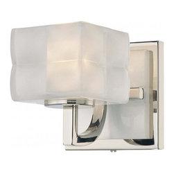 Minka George Kovacs - Minka George Kovacs Squared 1-Light Polished Nickel Bathroom Sconce - This 1-Light Bathroom Sconce is part of the Squared collection and has a Polished Nickel finish and Clear/inside Etched glass.