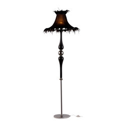 Warehouse of Tiffany - Cyrene Black Fabric Floor Lamp - This beautiful crystal floor lamp is a modern take on Art Nouveau style. This lamp features a lovely black fabric shade and a single bulb.Setting: IndoorsFixture finish: ChromeMaterials: Metal/Crystal/Fabric LampshadeShades: FabricSwitch type: Floor SwitchNumber of lights: One (1)Requires one (1) 100-watt bulb (Not included)Dimensions: 71 inches high x 24 inches wideCSA Listed, ETL Listed, UL Listed