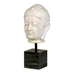 Kathy Kuo Home - Antique White Ceramic Buddha Head Sculpture on Marble Base - Features: