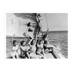 Artehouse Girls on Sailboat Art Print - 18W x 24H in. - Retro sunbathers at sea. Girls on Sailboat is a 24L x 18 inches high limited edition black and white photograph printed on Somerset Velvet paper. This vintage photo depicts a bevy of sunbathing beauties on a sailboat. It features a classic white border and comes ready for framing. A fun gift idea for collector's of vintage photography.