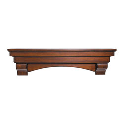 "Pearl Mantel - The Auburn Fireplace Surround, Cherry, 60"" - Deck the walls with treasures of the heart. This classically designed surround shelf will showcase all your collectibles, photos and items of interest beautifully."