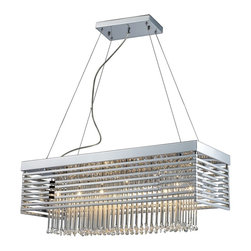 Elk Lighting - Cortina Linear Chrome & Glass Modern Chandelier - The Cortina Chandelier Creates An Architectural Crosshatch Pattern Utilizing Horizontal Polished Chrome Framework With Slender Glass Rods Arranged Vertically For Perfect Symmetry. Its Rectangular Shape Is Especially Suitable For Kitchens And Dining Rooms Or Modern Linear Spaces. This Chandelier Accommodates Twelve (12) 20 Watt, G4 Type Halogen Lamps, Which Are Included. It weighs 31 pounds.
