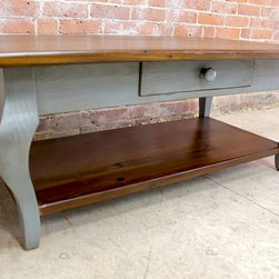 "Coffee Tables - 48""L x 27""W x 18""H x 1"" thick Coffee table iwht shelf and drawer. Smooth texture. Cabriole legs. Antique Walnut stain top. Painted Slate base with rub thru and glaze. Custom your own in any size or color: www.lakeandmountainhome.com"