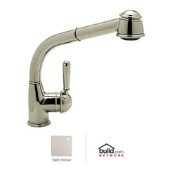 "Rohl - Rohl R7903LMSTN Satin Nickel  Country Kitchen Faucet with Pull Out - Country Kitchen Faucet with Pull Out Spray and Metal Lever HandleRohl R7903 Features:All brass faucet body construction - weight: 8 lbs.Hand-machined from solid brass stockIndustry leading, 1/4 turn lifetime ceramic disc valveSuperior finishing process – chemical, scratch, and stain resistantNumber of installation holes required: 1Spout swivels to allow for unobstructed sink accessInsulated brass pullout spray faucet head (not plastic)Installs onto decks up to 2-1/4"" thickMetal lever handles includedOverall height: 12-9/16"" (measured from counter top to highest point of faucet)Spout height: 10-1/8"" (measured from counter top to faucet outlet)Spout reach: 9-3/4"" (measured from center of faucet base to center of faucet outlet)Low lead compliant – complies with federal and state regulations for lead contentDesigned for use with standard U.S. plumbing connectionsExtra secure mounting assemblyAll necessary mounting hardware includedFully covered under Rohl's limited lifetime warrantyManufactured in New Zealand, Western Europe, and/or North AmericaVariations:R7903 - This modelR7903S - Same model with short pull out sprayAbout Rohl:Excellence, durability, and beauty. Family values, integrity, and innovation. These are all terms which aptly describe Rohl and its remarkable selection of kitchen and bathroom faucets and fixtures. Since 1983, Rohl has maintained a commitment to providing high-quality plumbing products for residential and commercial applications, while assuring these fixtures would make a difference in the overall décor in the living space. With a dedication to excellence throughout the home, Rohl has been satisfying homes, schools, hospitality venues, and restaurants all around the world. Rohl specializes i"