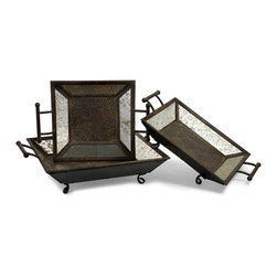 iMax - Mirror Trays, Set of 3 - Three mirrored trays with handles in graduating sizes.