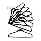 Proman - Velvet Plastic Huggable Suit Hanger, Black - Velvet plastic HUGGABLE suit hanger, chrome hook, in black. 100 PCS/BOX. PRICE PER CASE. Velvet Huggable suit hanger.