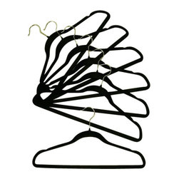 Proman - Velvet Plastic Huggable Suit Hanger, Black - Velvet plastic HUGGABLE suit hanger, chrome hook, in black. 100 PCS/BOX. PRICE PER CASE. Velvet Huggable suit hanger.