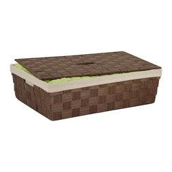 Paper Rope Underbed Baskt, Brn - large brown under-the-bed storage basket