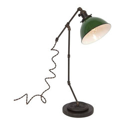 """Pre-owned Large Tee Brass Plumbing Table Lamp - Green Dome - Shed light on any project with this vintage industrial inspired desk lamp. The lamps feature repurposed industrial plumbing pipe, brass hardware and porcelain enamel metal shades.     •  24"""" High x 15 1/2"""" Deep x 7"""" Diameter Base  •  1/8 IP Brass pipe  •  1/8 IP Repurposed industrial brass plumbing pipe fittings  •  Solid brass knob switch standard medium (E26) base socket  •  Solid brass 2 1/4"""" shade fitter  •  7"""" Diameter porcelain enamel metal shade w/ white interior  •  8ft vintage style brown cloth covered twisted cord  •  Antique style brown Bakelite plug  •  110-250 Volts - 250 Watt max bulb (not included)  •  All UL Listed components  •  Vintage 2 ½ pound barbell  •  Reclaimed black honed marble base  •  Hand finished ebonized brass patina  •  Hand finished ebonized rust patina (barbell)  •  Handcrafted in Santa Barbara, CA by artisan Hilary Nagler"""